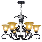 60W E27 Retro Iron Chandelier with 6 Lights