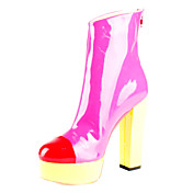 Patent Leather Chunky Heel Ankle Boots With Split Joint Party / Evening Shoes