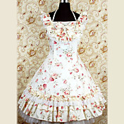 Sleeveless Knee-length Beige Flower Pattern Cotton Country Lolita Dress
