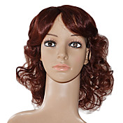 100% Indian Remy Hair Lace Front Auburn Medium Curly Wig