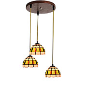 60W E27 3-light Classic Pendent Light with Shade in Shell Feature