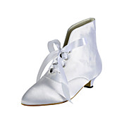 Satin Kitten Heel Ankle Boots With Lace-up Wedding Shoes (More Colors)