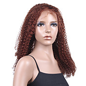 "Nieuwe Lijm-less Cap Met Combs Jerry Curly 20 ""Auburn 100% Indian Remy Lace Wig"