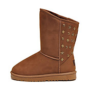 Women's Suede Rubber Waterproof Mid-Calf Flat Snow Boots (Assorted Colors)