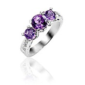 925 Sterling Silver Natural Amethyst Ring (4 * 4,5 * 5mm)