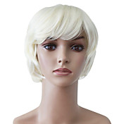 Capless Short White Wavy High Quality Synthetic Japanese Kanekalon Christmas Parties Wigs
