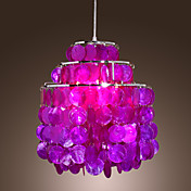 60W Capiz Style Pendent Light with 1 Light in Purple Shell