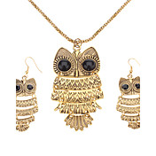 Vintage Style Owl Shape Necklace Earrings Jewelry Set