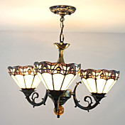 60W Modern Chandelier Estilo Tiffany com 3 luzes