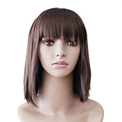 Capless Medium Brown Straight hoge kwaliteit kunststof japanse Kanekalon Kerstmis partijen Pruiken