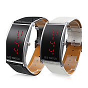 Pair of Elegant PU Leather Band Red LED Wrist Watches (Black and White)