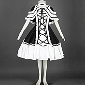 Sleeveless Knee-length Black and White Cotton Shiro& Kuro Lolita Dress