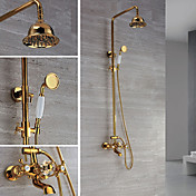 Contemporary Wall Mount Ti-PVD Finish Brass Shower Faucets