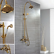 Wall Mount Ti-PVD Finish Contemporary Brass Shower Faucets