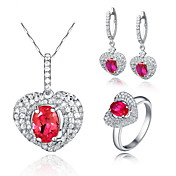 Fashion 925 Silver With Rhinestone/Cubic Zirconia Women's Jewelry Set Including Necklace,Earrings,Ring(More Colors)