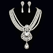 Elegant Pearls With Cubic Zirconia Women's Jewelry Set Including Necklace,Earrings