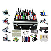 6 Guns Pro Komplett Tattoo Kit Machine LCD Power Supply 15 Ink