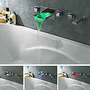 Wall Mount Chrome Finish Color Changing LED Waterfall Tub Faucet