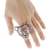 Hollowed-out Leopard Face Diamond-stud Ring