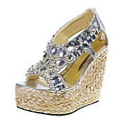 Gorgeous Fabric Wedge Heel Wedges With Crystal Party / Evening Shoes