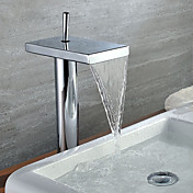Contemporary Single Handle Waterfall Bathroom Sink Faucet Chrome Finish(Tall)