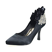 Elegant Satin Upper Stiletto Heel Closed Toe Beading Wedding Shoes