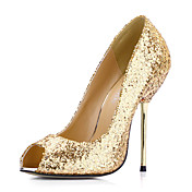 Elegante couro salto stiletto peep toe com lantejoulas Bombas partido / Evening Shoes