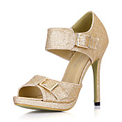Elegant Sparkling Glitter Stiletto Heel Sandals With Buckle Party / Evening Shoes