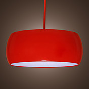 40W 1 - Light Comtemporary Pendant Light with Red Shade