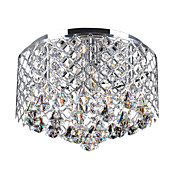 60W Contemporary Crystal Flush Mount with 4 Lights and Metal Drum Shade