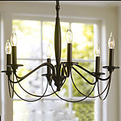 60W Retro Chandelier with 6 Lights in Candle Feature