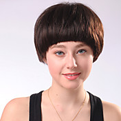 Capless Short Chocolate Brown Straight Mixed Hair Wigs Bobo Style