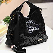 Women's Fashion Genuine Leather Splicing PU Flower Tassels Bag(42*11*29cm)