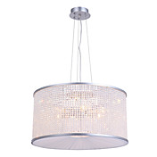 40W Modern Pendant Light with Crystal Beaded Chain Shade in Drum Design