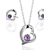 Pretty 18K Plated With Crystal Women's Jewelry Set Including Necklace,Earrings