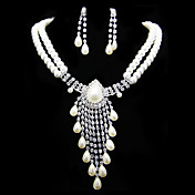 Gorgeous Imitation Pearl With Rhinestone Women's Jewelry Set Including Necklace,Earrings