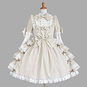 Long Sleeve Knee-length Beige Cotton Princess Lolita Dress