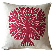 Classic Red Tree Cotton/Linen Decorative Pillow Cover