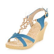 Chic Leatherette Wedge Heel Sandals With Buckle Party / Evening Shoes (More Colors)