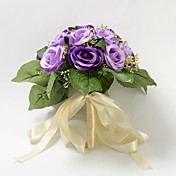 Jolie main-attaché Purple Satin Rose Bouquet de mariée