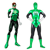 Green and Black Mixed Color Shiny Metallic Spandex Zentai