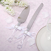 Personalized Satin Bowknot Wedding Cake Knife And Server Set