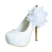 Cetim bombas estilete calcanhar com o partido / Evening Flor Shoes