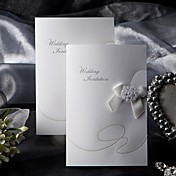 Elegant Style Folded Wedding Invitation With Ribbon Bow (Set of 50)