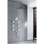 Chrome Finish Contemporary Thermostatic LCD 16 inch Round Showerhead + Handshower