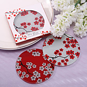 Bella Sakura vetro Favors Coaster (Set di 2)