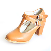 Leatherette Chunky Heel Pumps With Buckle Casual Shoes (More Colors)