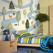 Tree and Deer Botanical Cartoon Mural