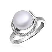 Elegant Platinum Plated with Cubic Zirconia Pearl Ring