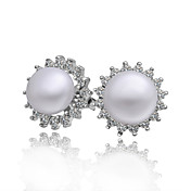 Elegant Platinum Plated Pearl Earrings with Cubic Zirconia